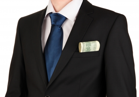 Money in pocket of businessman isolated on white Stock Photo - 17548166