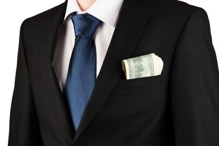 Money in pocket of businessman on grey background Stock Photo - 17548290