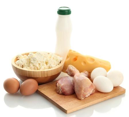 alimentaire avec des prot�ines, isol� sur blanc Banque d'images