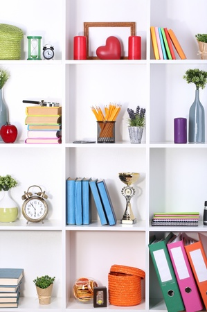 Beautiful white shelves with different home related objects Stock Photo - 17596395