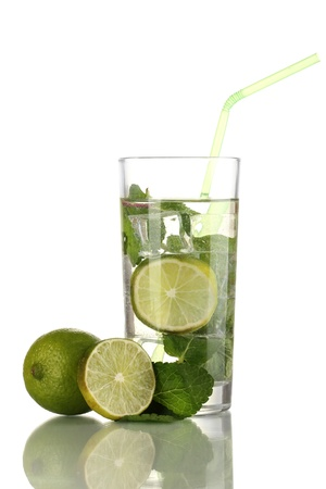 Glass of water with ice, mint and lime isolated on white Stock Photo - 17594964