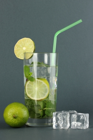 Glass of water with ice, mint and lime on grey background Stock Photo - 17596119
