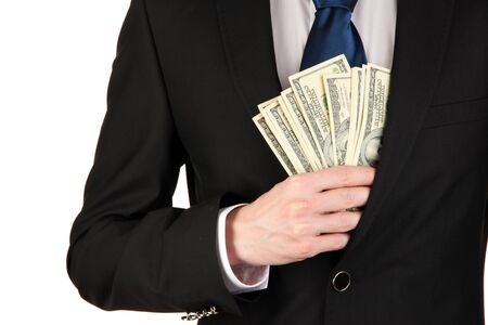 Business man hiding money in pocket isolated on white Stock Photo - 17595779