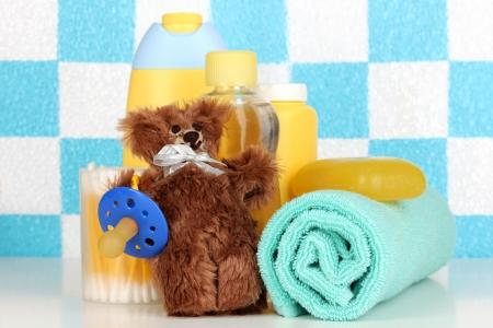 Baby cosmetics in bathroom Stock Photo - 17644331