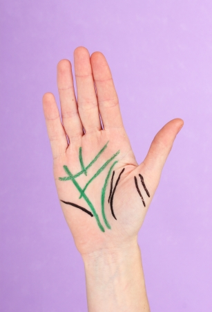 Chiromancy.Color contours on palm, on color background Stock Photo - 17644287