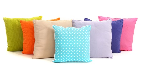 cushion: Colorful pillows isolated on white