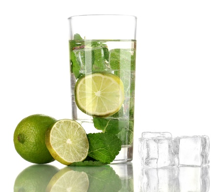 Glass of water with ice, mint and lime isolated on white Stock Photo - 17629338