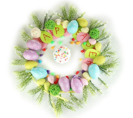 Circular composition for Easter isolated on white photo