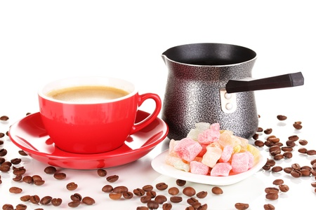 locum: Red cup of coffee with rahat delight (locum) and coffee pot isolated on white Stock Photo