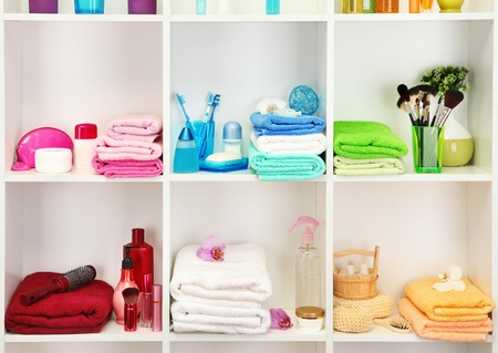 Bath accessories on shelfs in bathroom Stock Photo - 17634114