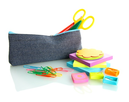 pencil box with school equipment isolated on white Stock Photo - 17633811