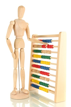Bright toy abacus and wooden dummy, isolated on white Stock Photo - 17644766