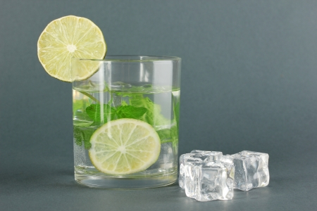 Glass of water with ice, mint and lime on grey background Stock Photo - 17645125