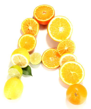 Vitamin A posted products which contain it isolated on white photo