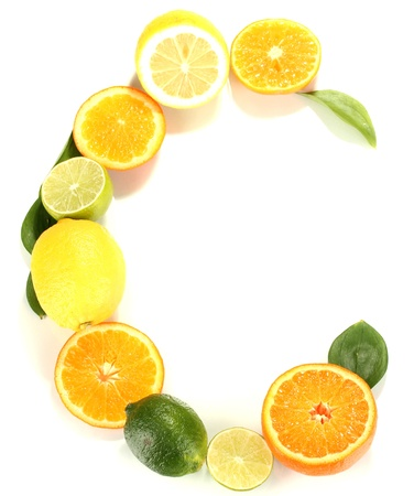 c vitamin: Vitamin C posted products which contain it isolated on white