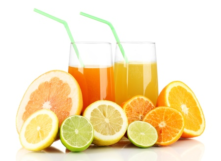 Lots ripe citrus with juices isolated on white Stock Photo - 17727351