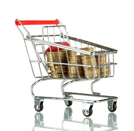 shopping trolley with Ukrainian coins, isolated on white Stock Photo - 17729662