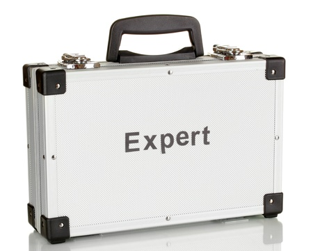 Silvery diplomat (suitcase) isolated on white Stock Photo - 17728743
