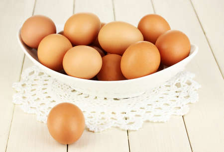 Eggs in white bowl on wooden table close-up Stock Photo - 17760628
