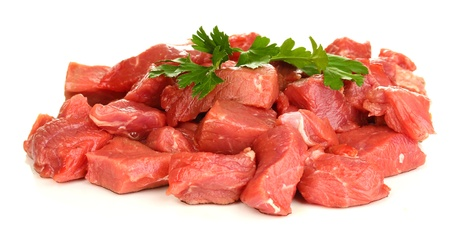 vlees: Rauw rundvlees op wit wordt ge Stockfoto