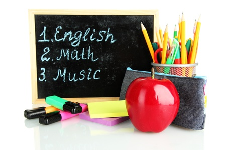 pencil box with school equipment and timetable isolated on white Stock Photo - 17760957