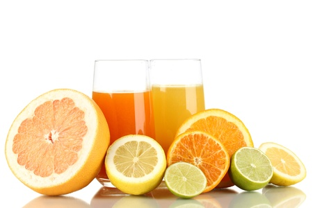 Lots ripe citrus with juices isolated on white photo