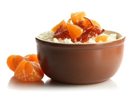 cottage cheese in bowl with homemade tangerine jam, isolated on white photo