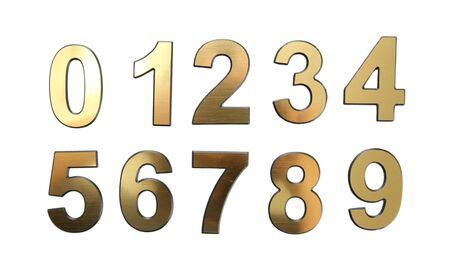 Golden numbers, isolated on white photo