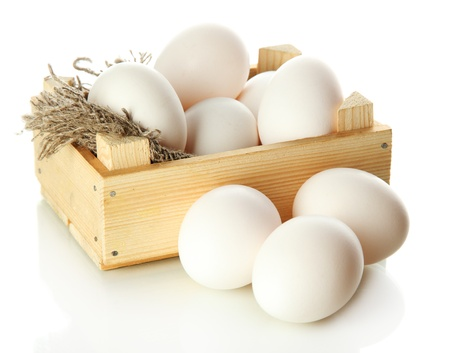 chicken egg: Many eggs in box isolated on white