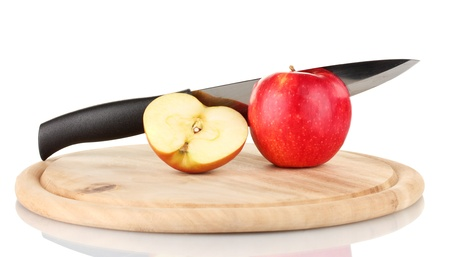 tastyhealth: Red apple and knife on cutting board, isolated on white Stock Photo