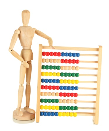 Bright toy abacus and wooden dummy, isolated on white Stock Photo - 17778288