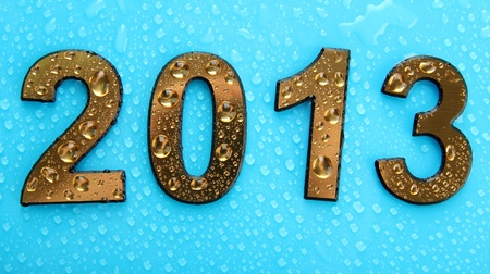 0 1 years: 2013 in golden numbers, on blue background