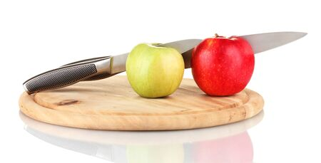 Red, green  apples and knife on cutting board, isolated on white