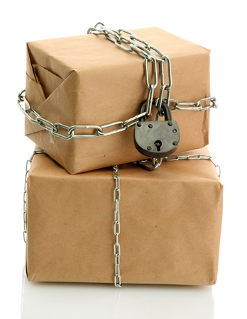 parcels with chains, isolated on white photo