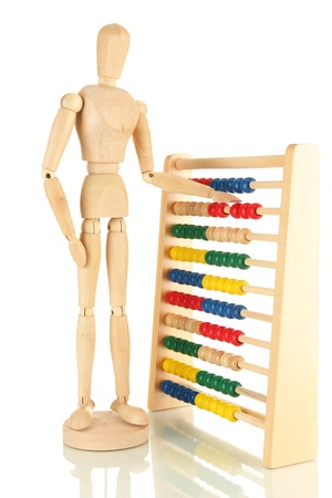 Bright toy abacus and wooden dummy, isolated on white Stock Photo - 17820628