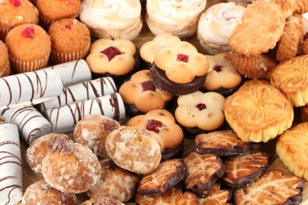 unhealthy: Mix of sweet cookies close-up