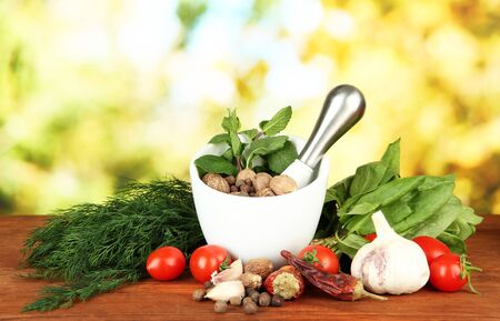 Composition of mortar, spices, tomatoes and  green herbs, on bright background Stock Photo - 17834929