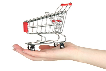 empty shopping trolley on woman hand, isolated on white Stock Photo - 17865705