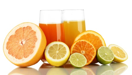 Lots ripe citrus with juices isolated on white Stock Photo - 17865787