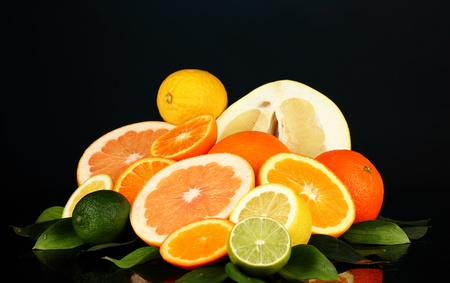 Lots ripe citrus isolated on black Stock Photo - 17865830