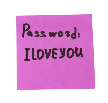 Sticker-reminder with most popular password, isolated on white Stock Photo - 17865689
