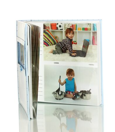 baby open present: Open baby photo album isolated on white Stock Photo