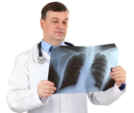 Medical doctor analysing x-ray image  isolated on white Stock Photo - 21540149