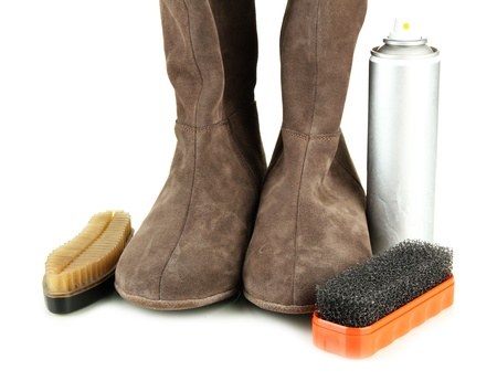 Set of stuff for cleaning and polish shoes, isolated on white Stock Photo - 17887816