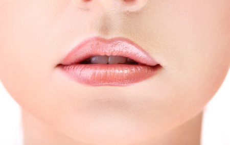 Beautiful make up of gloss lips, close up