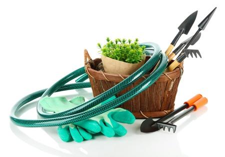 hose: Herramientas de jardín aislado en blanco
