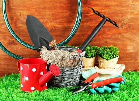 gardening gloves: Garden tools on grass in yard Stock Photo