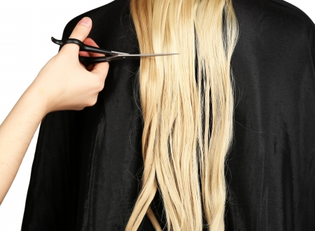 Haircut blond hair on white background Stock Photo - 17978764