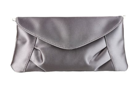 Luxury grey clutch bag isolated on white photo