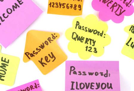 Passwords reminders isolated on white photo